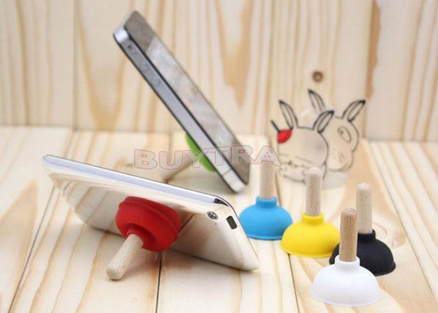 6pcs/ser Mini Plunger Holders Sucker Stand For Cell Phone PSP Toilet Shape Phone Sucker Holder(Random Color Sent) 6