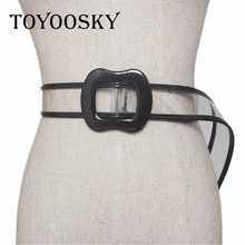 TOYOOSKY PVC Fashion Women Plastic Belt For Transparent 8 Shap  Buckle for Lady All-mached of Top Quality Casual Belts