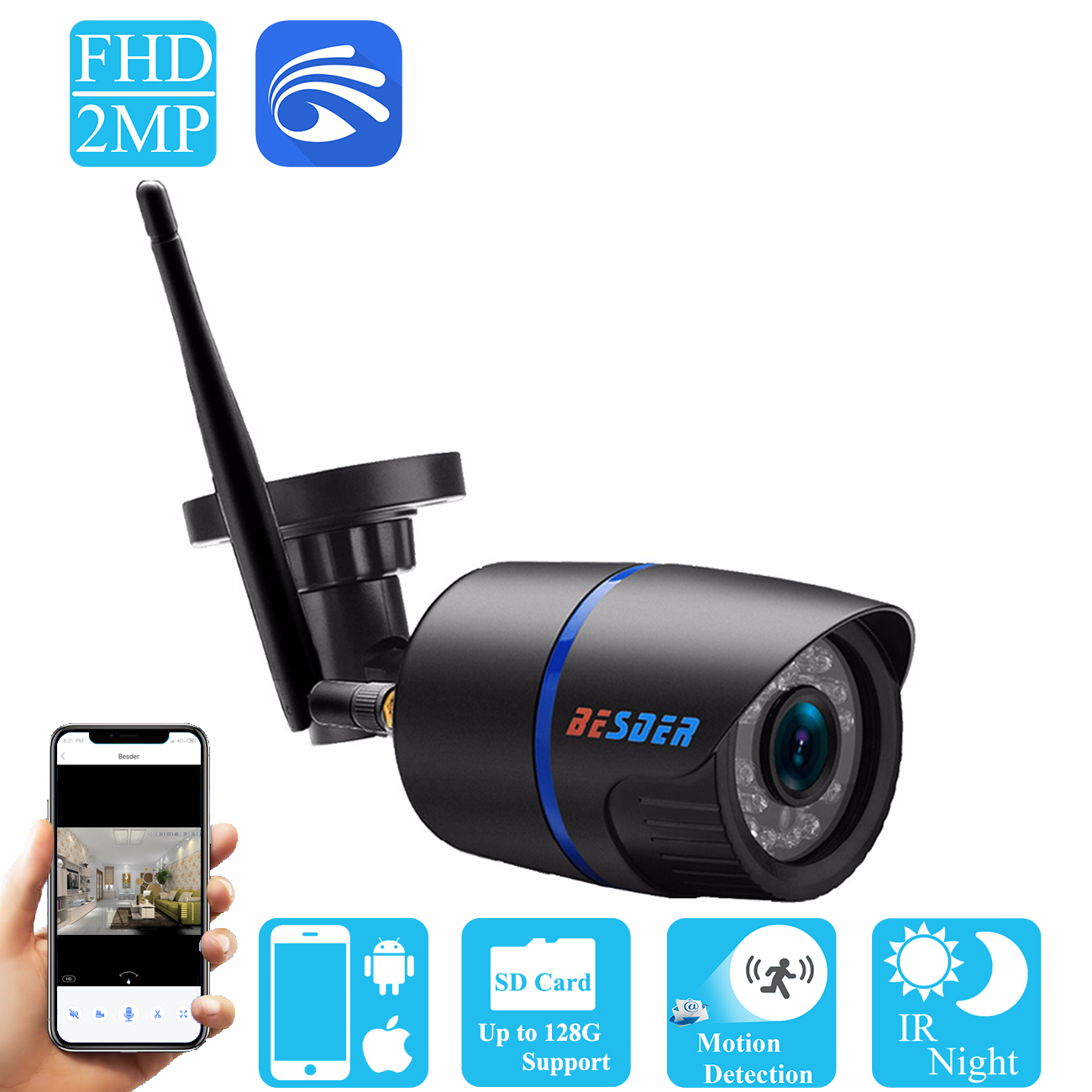 BESDER Yoosee Wifi Ip CCTV Camera 720P 960P 1080P Onvif P2P Black Bullet Security Street Ip Camera Wireless Support SD Card butane torch