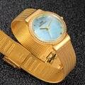 BELLMERS reloj de marca de moda A Prueba de agua de malla Diamante Señoras reloj de Cuarzo correa de acero Casual Relogio Feminino Montre
