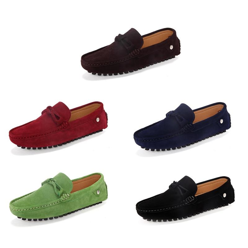 Loveontop marrom Homens Casuais vermelho Sapatas Conforto Deslizamento azul Dos 2019 De Condução Preguiçosos Mocassins Marrom Sapatos Em Preto Para Couro verde Homem Novos r4rwqR