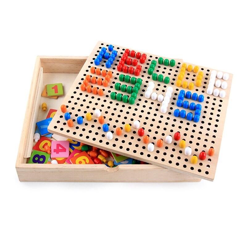 Деревянные игрушки Детские гриб ногтей бисер одежда с изображением мишки переодеться головоломки обучения Развивающие деревянные головол...