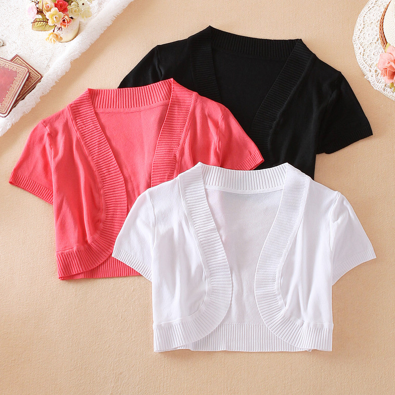 2015 Summer Shrug Women Short Sleeve cardigan for dress Blue Pink ...