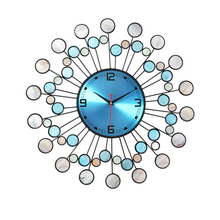 Large Art Wall Clock Modern Design Digital Electronic Gold Living Room Mediterranean Style Shell B75