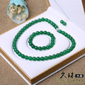 Natural Jewelry Set 10mm Brazil Top Natural Green Agate Chalcedony Necklace Bracelet and Earring for Graceful Women