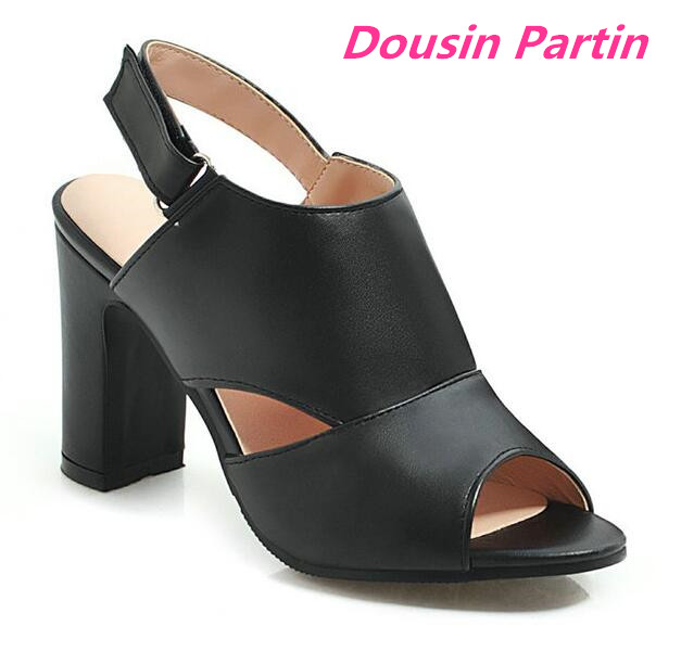 Dousin Partin 2019 Women Sandals Fashion Square High Heel Peep Toe PU Leather Hook Loop Slingback