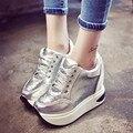Mulheres Sapatos 2016 Nova Moda Altura Crescente Sapatos de Lantejoulas Rendas up Flats Outono Preto Sapatos Casuais Mulher Cinza Preto 2 cor