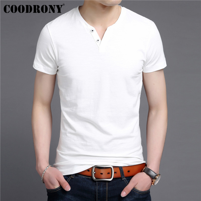 COODRONY Streetwear Tee Casual Henry Collar T Shirt Men Slub Cotton Short Sleeve T-Shirt Men Clothing 2019 Summer Tshirt S95098