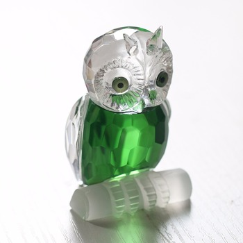H&D 2.7'' Green Crystal Owl Figurine Collection Paperweight Table Centerpiece Ornament Home Wedding Decoeration Souvenir Gifts