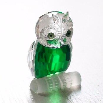 H & D 2.7 ''zielony kryształ sowa figurka kolekcja przycisk do papieru stół centralny ślubne Ornament Home Decoeration prezenty pamiątkowe