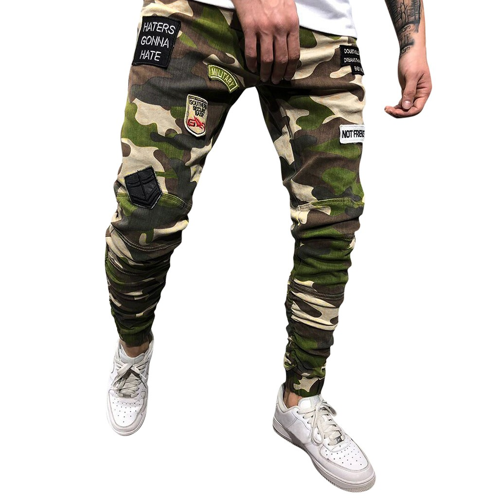Men's Camouflage Casual Pants Long Jeans Straight Slim Fit Ttrousers Jeans Men Streetwear Ripped Jeans For Men Dropshipping