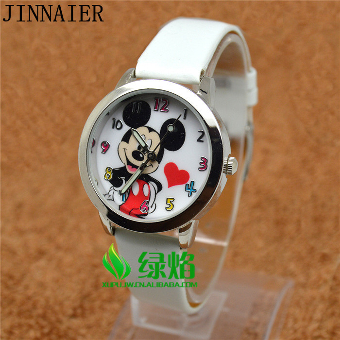 10pcs/lot Wholesales Hot Sales 5colors 3D Cartoon Students Kids Boys Girls Gifts Quartz Watch Small Leather Wristwatch