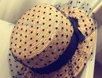 2017 NEW 10pcs/lot summer female sun-shading straw hat black dot gauze bowknot decoration fedoras straw cap