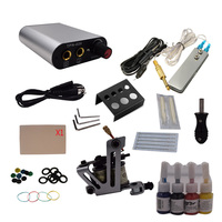 Professional 1 Set Complete Equipment Tattoo Machine Gun 4 Color Inks Power Supply Cord Kit Body