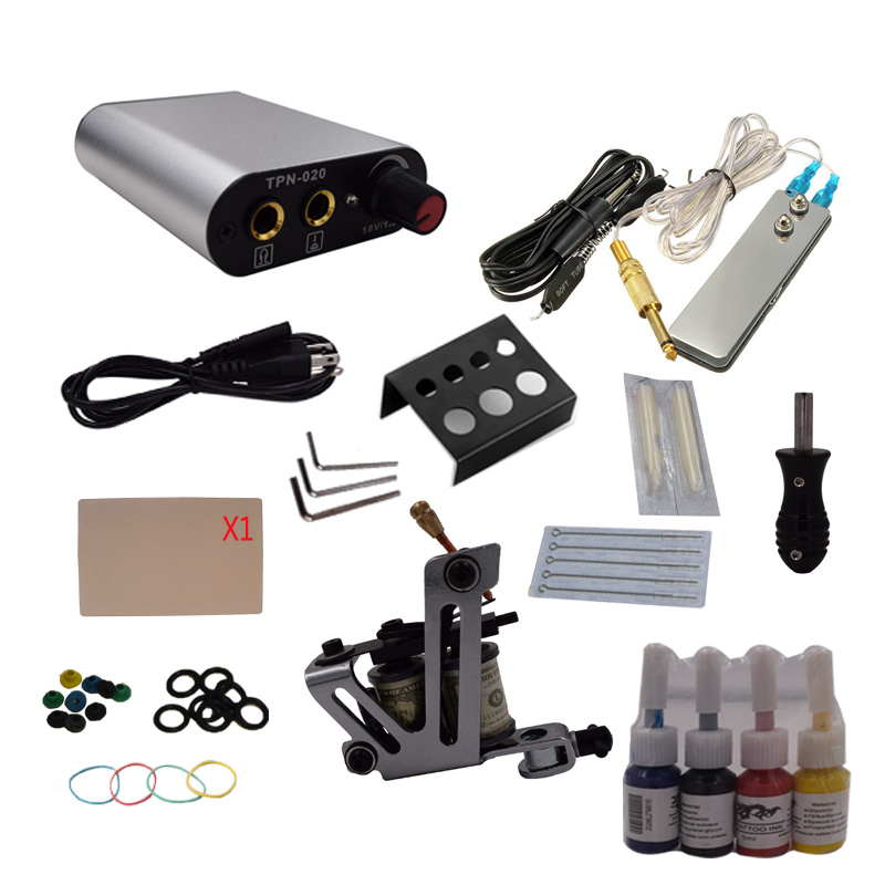 Professional 1 Set  Complete Equipment Tattoo Machine Gun 4 Color Inks Power Supply Cord Kit Body Beauty DIY Tools professional tattoo kit 5 guns complete machine equipment sets teaching cd ink for beginners body art beauty tools tk 2509 m