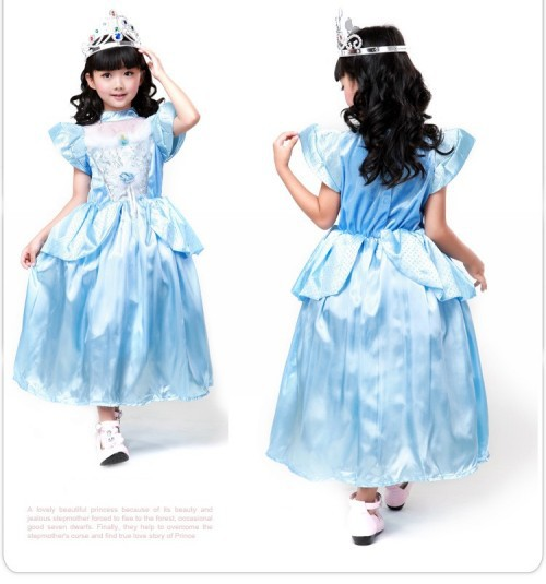 Party Cosplay Costume Supplier Cute Little Girl Christmas blue Cinderella Skirt Princess Halloween Costumes fancy dress