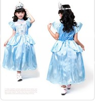 Party Cosplay Costume Supplier Cute Little Girl Christmas blue Cinderella Skirt Princess Halloween Costumes fancy dress