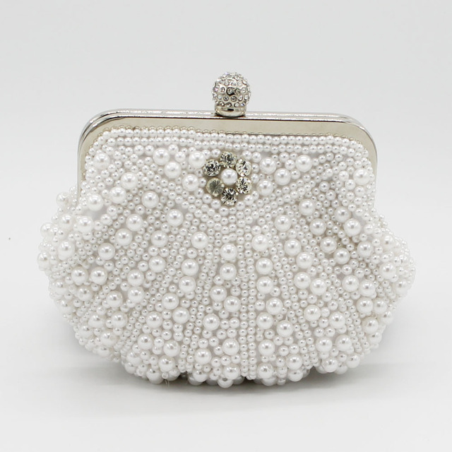 Fashion Women Evening Bags Pearl Bead Rhinestone Day Clutches Female Wedding Bridesmaid Party Banquet Handbag SMYCYX-C0036