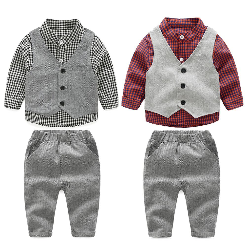 Новинка 2017 г. модные комплекты детской одежды для маленьких мальчиков костюм для джентльмена комплект детской одежды для мальчиков с длинными рукавами комплект одежды для мальчиков наряд для дня рождения