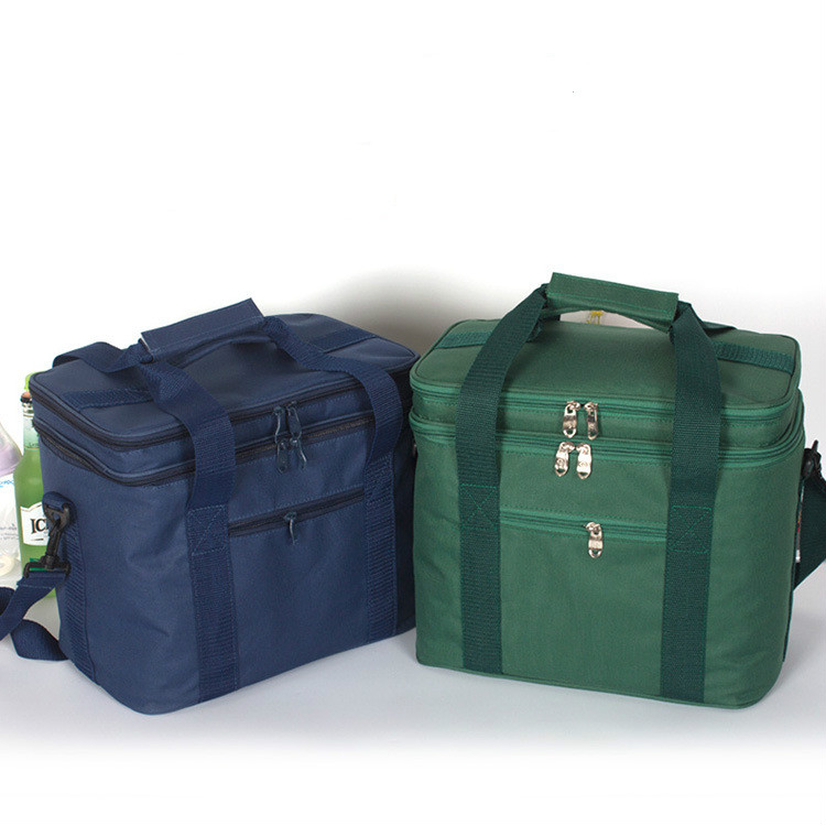 new 18L Outdoor Picnic Bag cooler bag Oxford Cloth double-deck waterproof Takeout Aluminum Foil Insulation Lunch cold Box