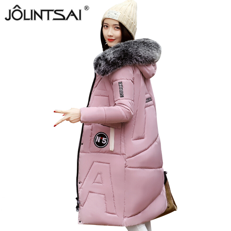 JOLINTSAI Hooded Coat Woman Clothes Winter Jacket With Pockets Long Padded Coats Women Parkas Slim Thickened Outwear jolintsai winter jacket women mid long hooded parkas mujer thick cotton padded coats casual slim winter coat women