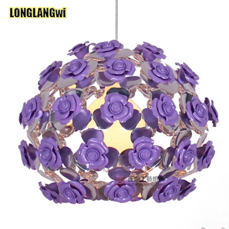 Led lampadari di cristallo con rosa e viola camera da for Lampadari con led