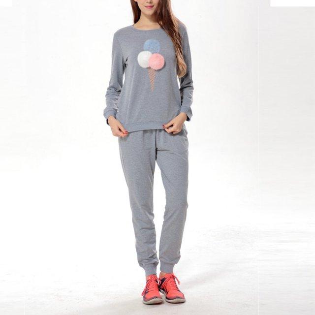 2 Pcs Mulheres Treino Camisola Hoodies Ocasional Das Senhoras T-Shirt Longo Da Luva Jumper Tops Terno Calças de Algodão Conjuntos