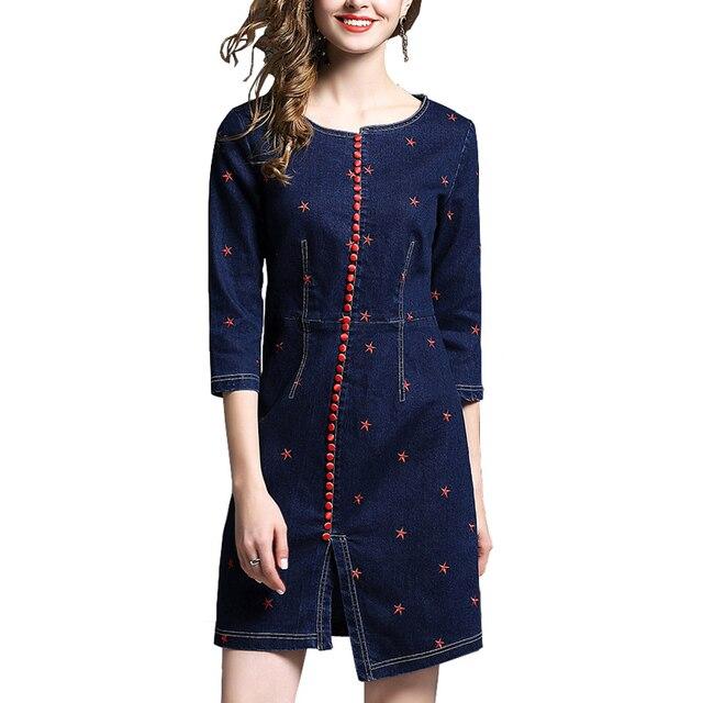 Spring Autumn Denim Dresses Women Long Sleeve Belted Bodycon Floral Jeans Dress Vintage Buttons Knee Length Dresses Vestido Jean