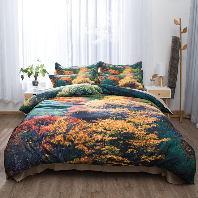 6044e4be0ec Small Fresh Printed Sanded Fabric Double Bedding Set 4pieces Set Nature  Green Forest Comforter Bedding Sets Fashion Home Textile