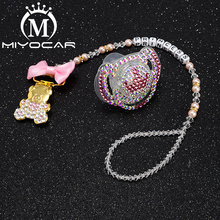MIYOCAR any name bling crown pacifier clip personalized holder dummy with set unique gift SP011