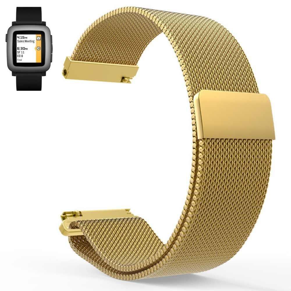 22 millimetri vendite Calde di Ghiaia Tempo/Pebble Tempo Classico Anello Magnetico Milanese di Ricambio Watch Band Strap per Pebble Tempo acciaio inox