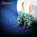 Ajojewel Green Tassel Bohemia Earrings Crystal Flower Dangle Earrings Women Gold Plated Ladies Jewelry Fashion Ear Drops