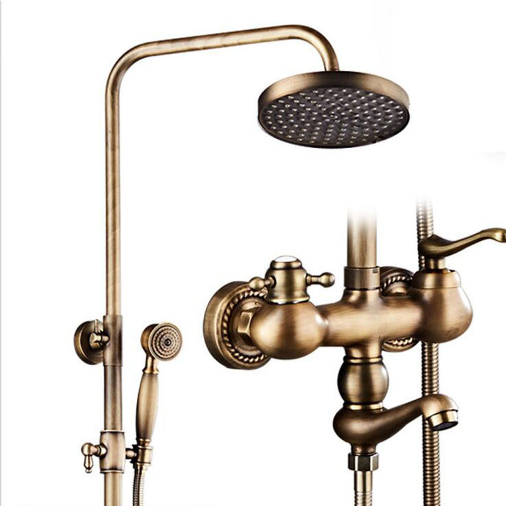 Dofaso classic Rain Shower set Antique Brass Tub Shower Faucet with 8 inch Shower Head Mixer tap Bath Shower Taps dofaso classic rain shower set antique brass tub shower faucet with 8 inch shower head mixer tap bath shower taps