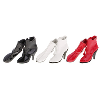 1 6 Scale PU Leather Female High Heels Ankle Boots Shoes For 12 Action Figure Dolls
