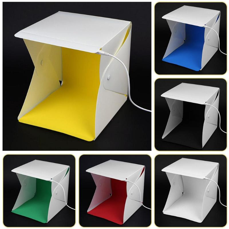 Portable Mini Tabletop Shooting 2 LED Light Folding Lightbox Photography Background Backdrop Cube Photo Studio Box Softbox
