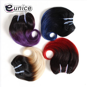 "Eunice Dark Root Colored Ombre Two Tone Body Wave Hair Short Weaves 8""Inch 1bundle 4piece/lot 100Gram Synthetic Women Hair(China)"