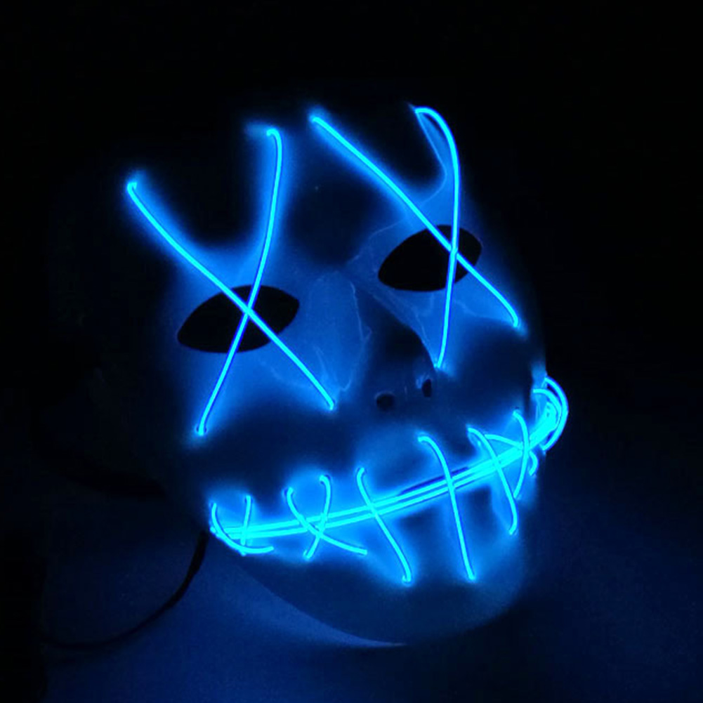HTB1ToM0bo3IL1JjSZFMq6yjrFXaf - 1 Piece Halloween ghost Slit mouth light up glowing LED Mask Costume PTC 259