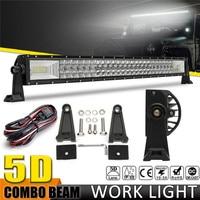 5D 32 Inch 1070W 144000LM LED Work Light Spot Flood Led Bar Lights Driving Lights +Wiring Kit For Boat 4WD Off road SUV UTV ATV