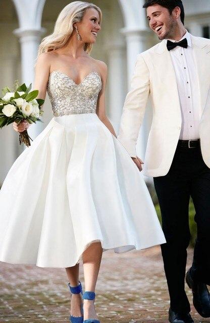 Sweetheart Tea length wedding dresses Beaded Bodice Vintage Wedding ...