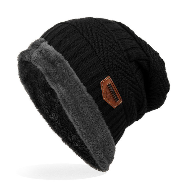 b5223eece6e Outdoor Thick Knit Beanie Skull Hats for Men