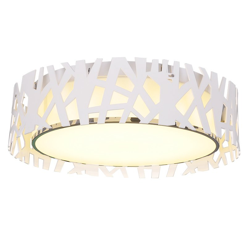 Modern LED Nest Living Room Ceiling Light Romantic White Geometry Hollow Out Bedroom Ceiling Lamp Study Room Round Plate Lights black or white rectangle living room bedroom modern led ceiling lights white color square rings study room ceiling lamp fixtures