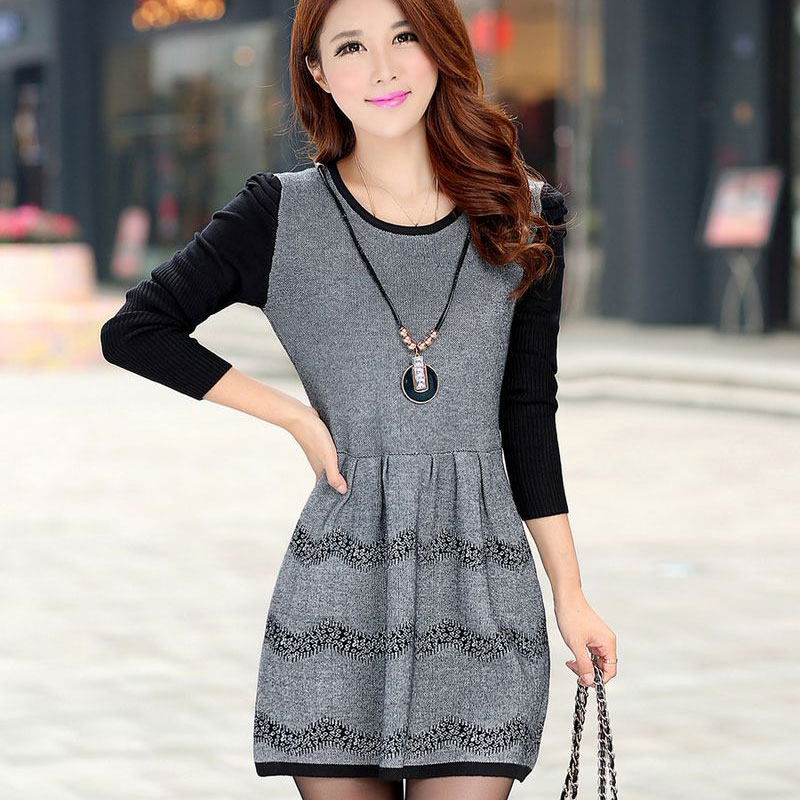 Autumn Winter Sweater Dress Mini Knitted WOOL Sweater Dress Plus Size High Quality Warm Women Sweater and Pullover Vestidos