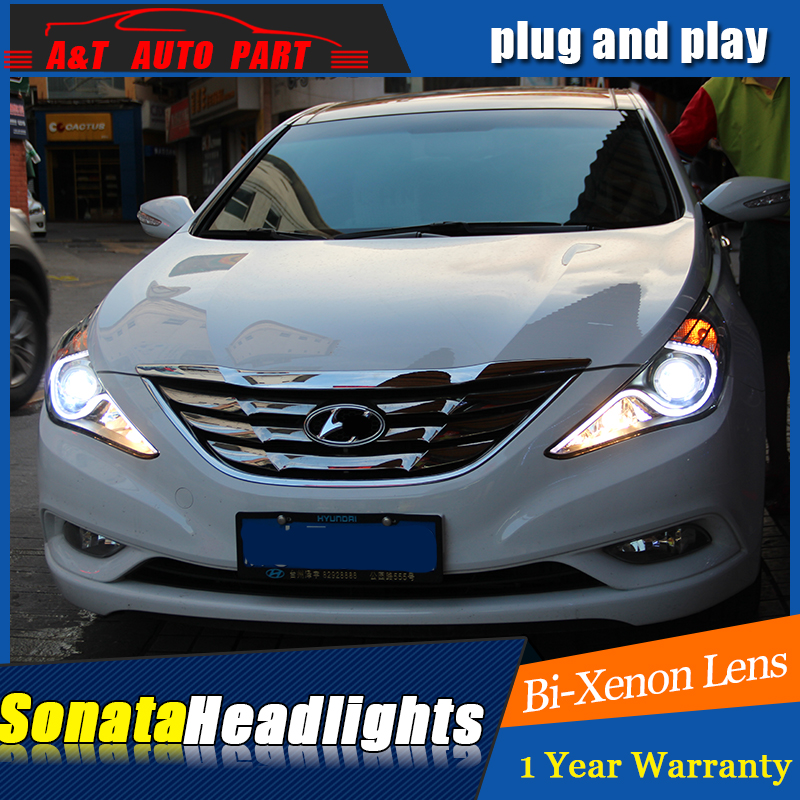 Auto part Style LED Head Lamp for Hyundai Sonata led headlights 2011-2014 drl H7 hid Bi-Xenon Lens angel eye low beam hireno headlamp for 2011 2015 hyundai sonata headlight assembly led drl angel lens double beam hid xenon 2pcs