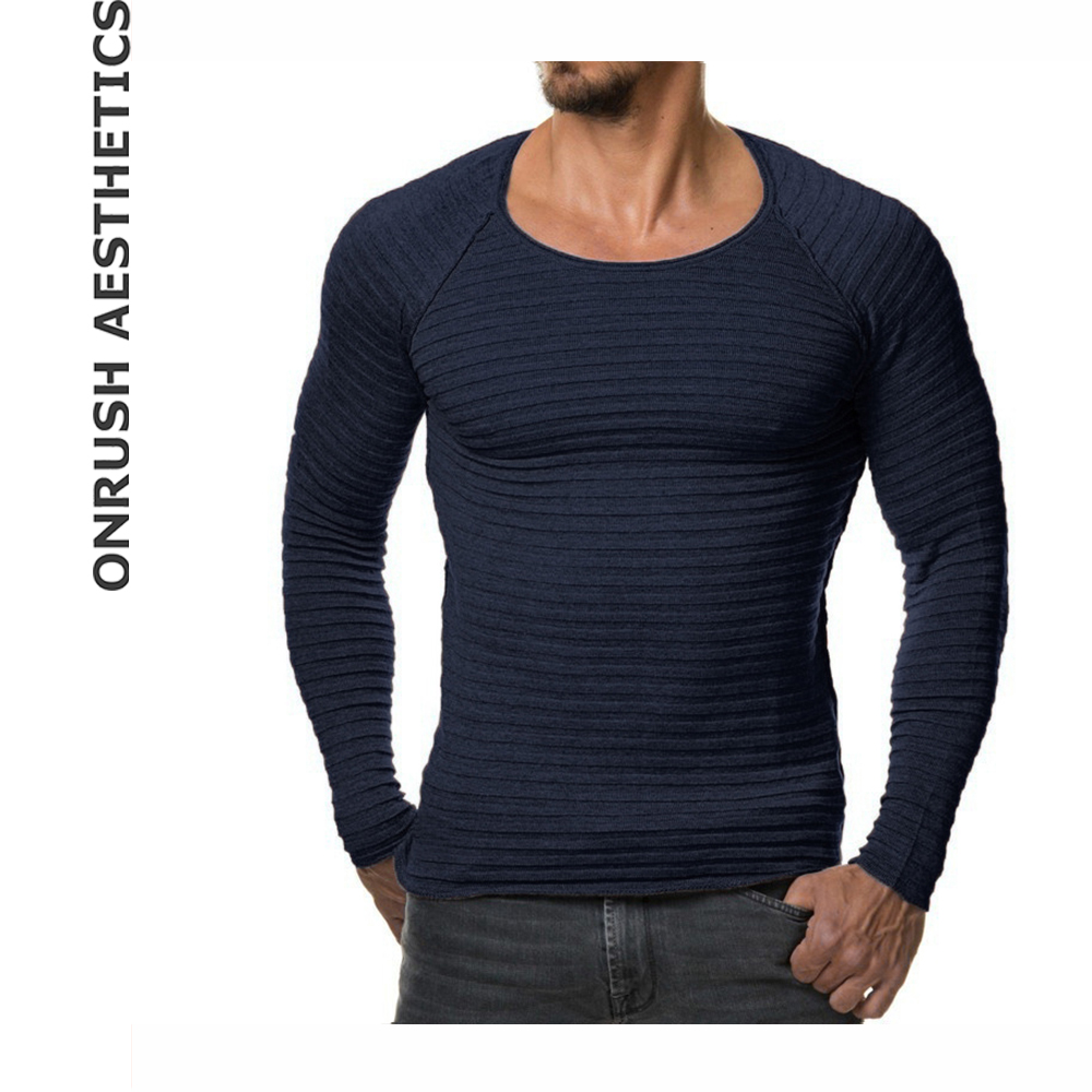 OA 2017 Autumn Winter New Mens Hot Sale Round Collar Knitted Sweaters Bodybuilding Slim Fit Breathable Knitwear Pullover Tops