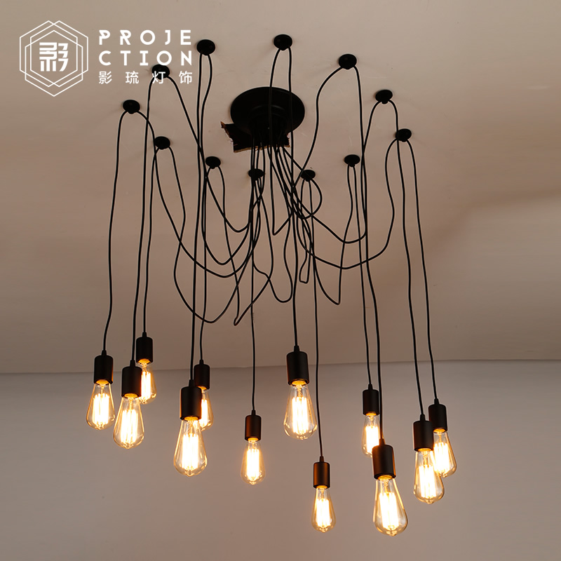 Nordic Retro Edison Bulb Light Chandelier Vintage Loft Antique Adjustable DIY E27 Art Spider Ceiling Lamp Fixture Light loft antique retro spider chandelier art black diy e27 vintage adjustable edison bulb pendant lamp haning fixture lighting