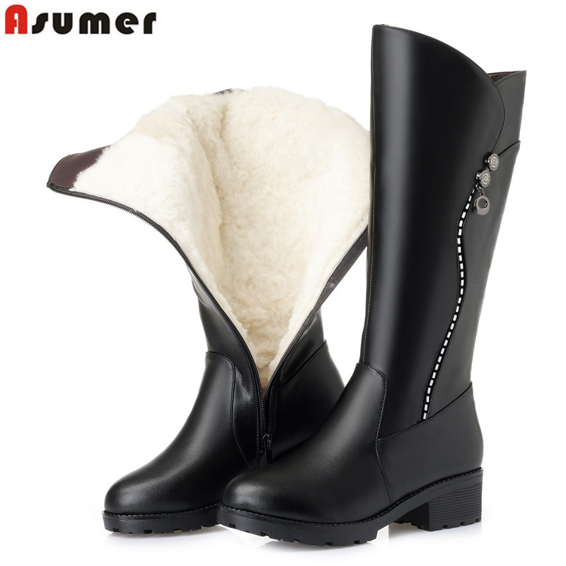 ASUMER Plus size 35-43 Snow boots high quality pu+ genuine leather boots women thick fur wool ladies knee high boots femaleASUMER Plus size 35-43 Snow boots high quality pu+ genuine leather boots women thick fur wool ladies knee high boots female