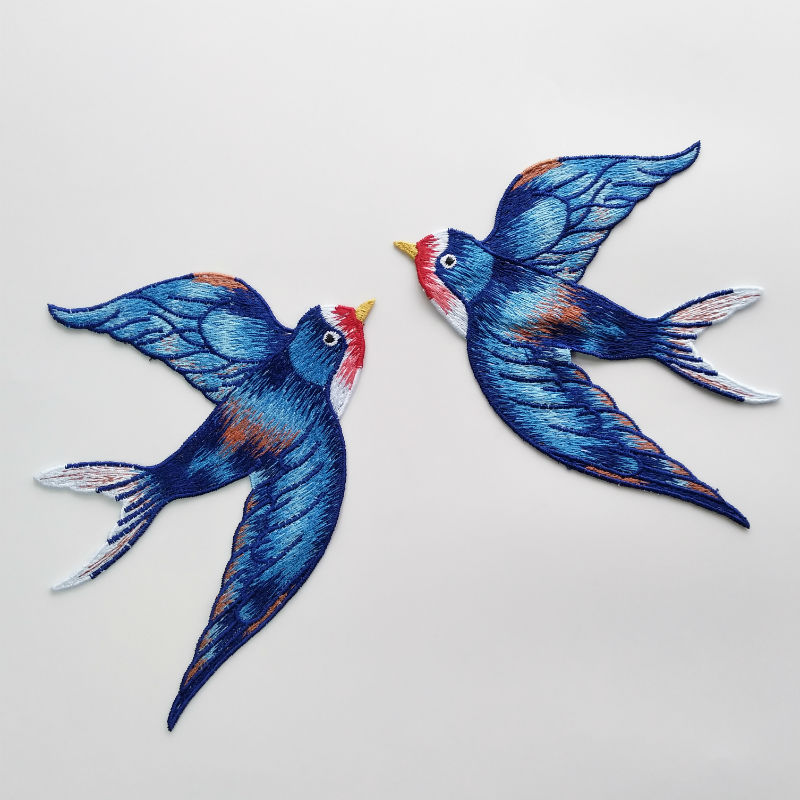 blue Birds Embroidered Swallow Iron on patch sew For clothing applique badge Bag