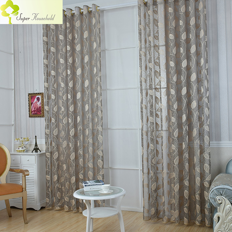 Beautiful Curtain Rustic Leaf Tulle Curtains For Living Room ...