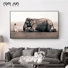 המודרני HD נורדי זן בד ציור אמנות קיר תמונה עבור פוסטרים והדפסים פיל Bow סלון קישוט הבית למטה LS030