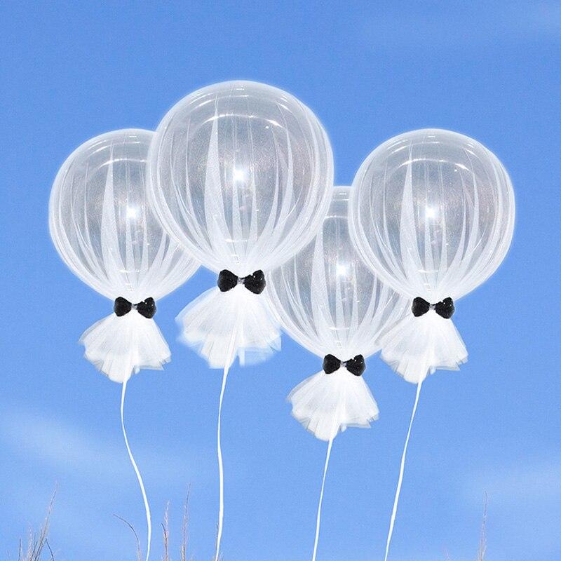 4pcs 18inch Transparent Mesh Bow Balloon Latex Wedding